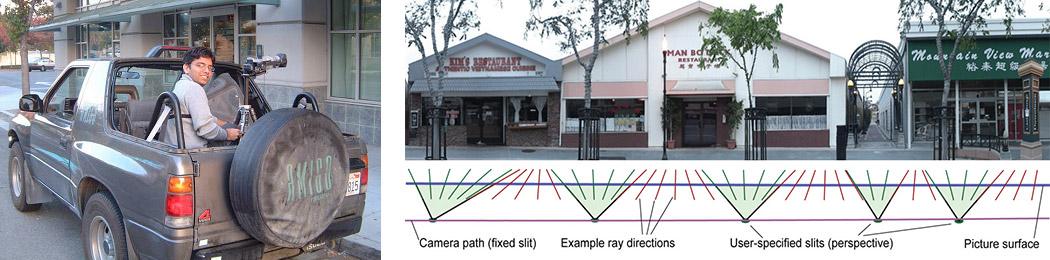 O panorama acima (à direita) é uma parte do lado norte da Rua Castro em Mountain View, CA. Este panorama foi contruído pelo alinhamento e colando as tiras verticais exxtraídas de frames consecutivos de uma sequência de vídeo. A sequência foi capturada por uma câmera de vídeo de alta velocidade de exploração lateral montado na parte de trás de um carro em movimentos lentos (mostrado à esquerda, tripulado pelo estudante PhD Gaurav Garg).