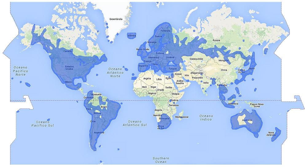 As área azuis no mapa mostram onde o Google já coletou imagens para o Street View